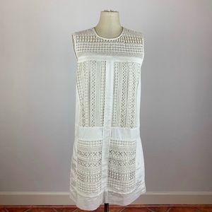 J. Crew White Geo Lace Shift Dress